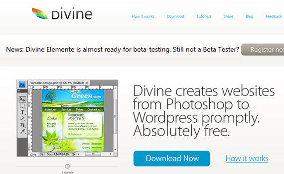 Top 100 Simple WordPress Themes - PSD to WordPress software. divine-project.com.
