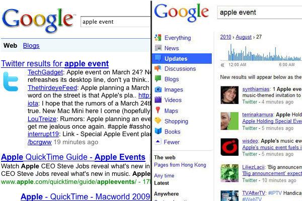 改版前后的谷歌实时搜索页面对比